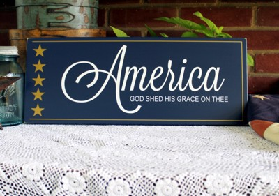 Americana Wood Signs With Sayings Painted Wall Decor