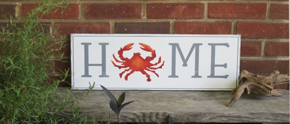 Hand painted Home Crab sign
