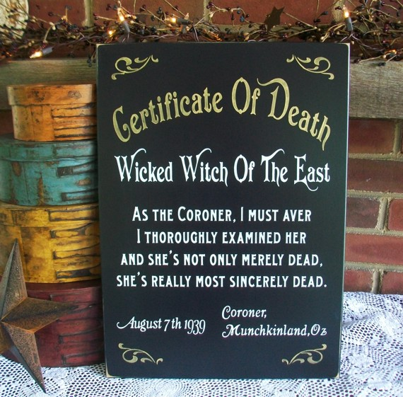 Certificate of Death Wicked Witch Of The East