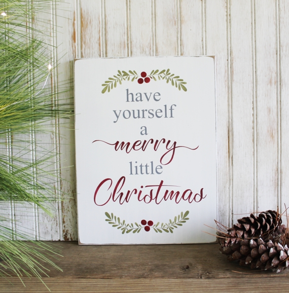 Have Yourself A Merry Little Christmas Sign.Have Yourself A Merry Little Christmas Handpainted Wood Sign Holiday Decor