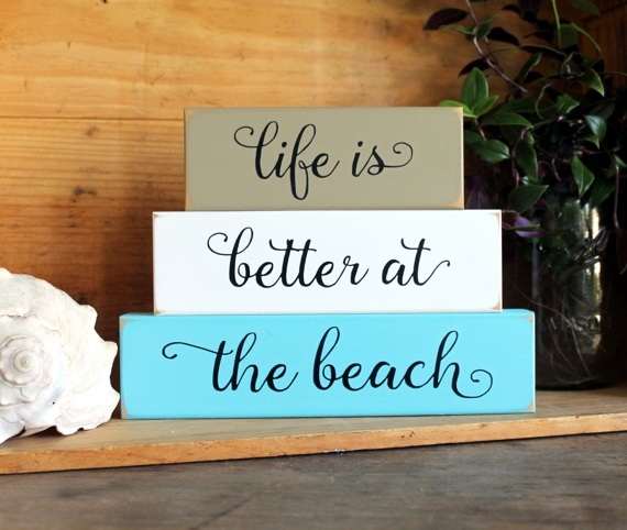 Life Is Better At The Beach Shelf Sitter Stacking Blocks
