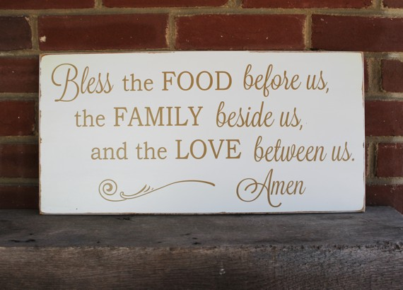 Bless The Food Family Love Wood Sign Grace Wall Art
