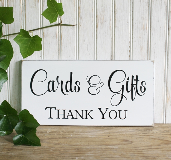 cards and gifts thank you handcrafted wedding sign for the