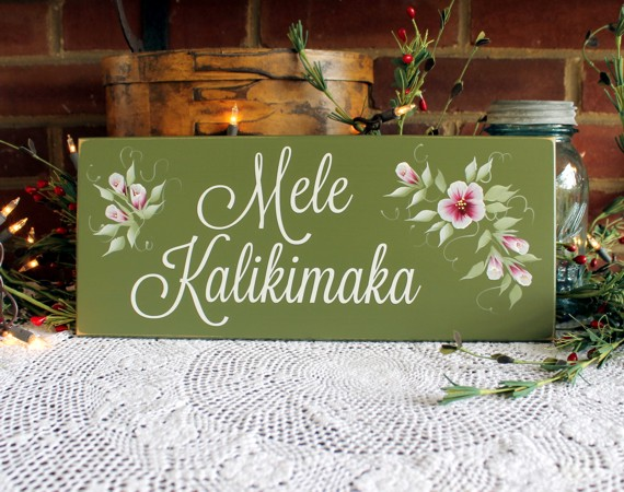 Hawaiian Merry Christmas.Mele Kalikimaka Sign Hawaiian Merry Christmas Painted Wood Wall Decor Hand Painted Flowers