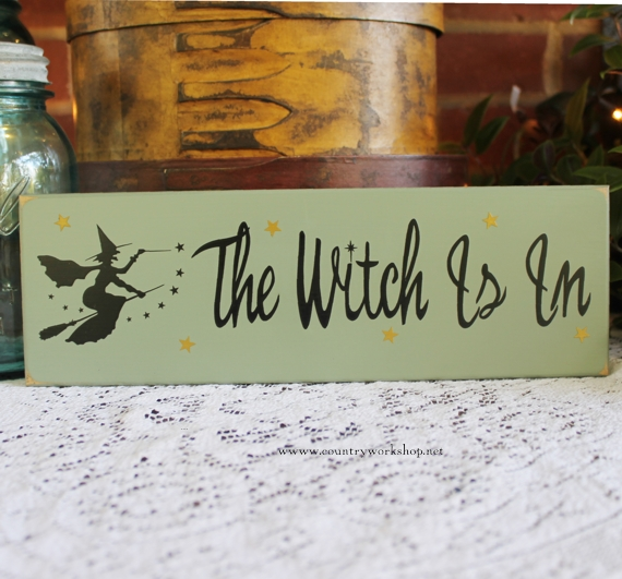 The Witch Is In Funny Painted Wood Sign Halloween Wall Decor