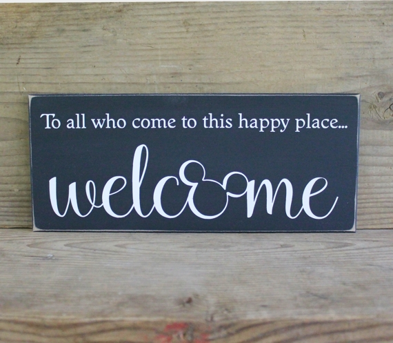 New To all who come to this happy place Welcome Wood Sign Handmade for  FF24