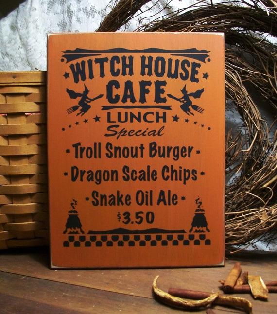 Witch House Cafe Sign Halloween Wood Plaque Wall Decor Kitchen