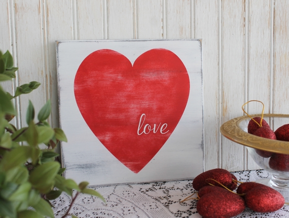 Hand painted Heart Love Sign Valentine