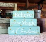 Shelf Sitter Blocks Beach Cottage Believe in the Magic of Christmas