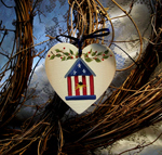 Americana Birdhouse Tie On Ornament