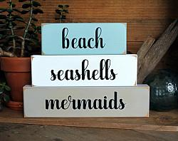 Beach Seashells Mermaids Blocks Lg