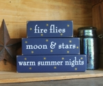 Shelf Sitter Blocks Fire Flies Moon and Stars Warm Summer Nights