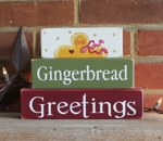Shelf Sitter Blocks Gingerbread Greetings