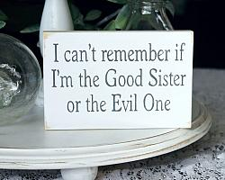 I can't remember if I'm the Good Sister or the Evil One Mini Sign