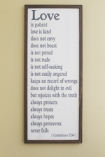 Framed Sign Love is Patient 1Corinthians 13 4-7