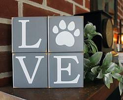 LOVE Paw Print Shelf Sitter Blocks Dog or Cat
