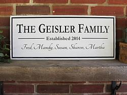 Personalized Family Sign 10x24 inches
