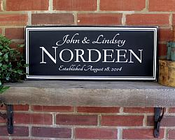 Personalized Wedding or Anniversary Sign 10x24 inches