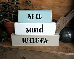 Sand Sea Waves Large Blocks