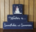 Shelf Sitter Blocks Winter is Snowflakes and Snowmen